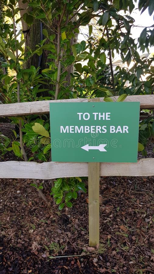 To the members bar sign. royalty free stock image