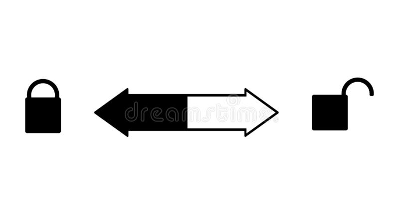 To open or close you need to turn right or left. The lock is open on the right and closed - on the left. Arrow back and forth in. The middle. Vector sign stock illustration