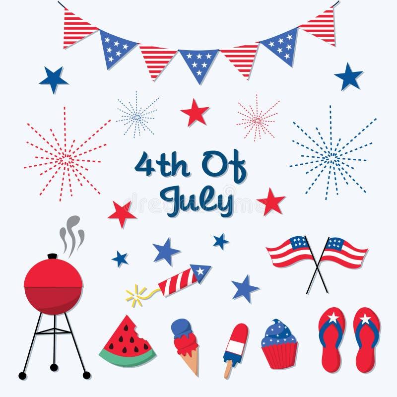 4to patriótico de los iconos de julio libre illustration