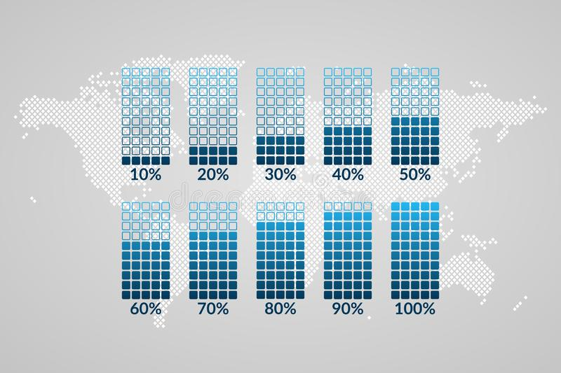 10 to 100 percent chart0s. Symbols on dotted world map background. Percentage vector infographic elements for business. 10 to 100 percent charts. Blue symbols on stock illustration