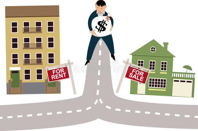To rent or buy. Man with a money bag standing on a crossroad, deciding to rent an apartment or to buy a house, vector illustration royalty free illustration