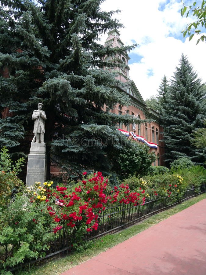 To the Soldiers Memorial for Civil War in Aspen. To the Soldiers Memorial for Civil War located in front of the Pitkin County Courthouse in downtown Aspen royalty free stock photos