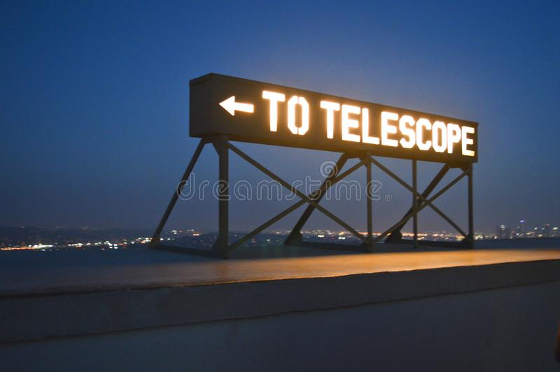 To telescope sign Griffith observatory. To telescope sign on the Griffith observatory in Los Angeles, California stock image