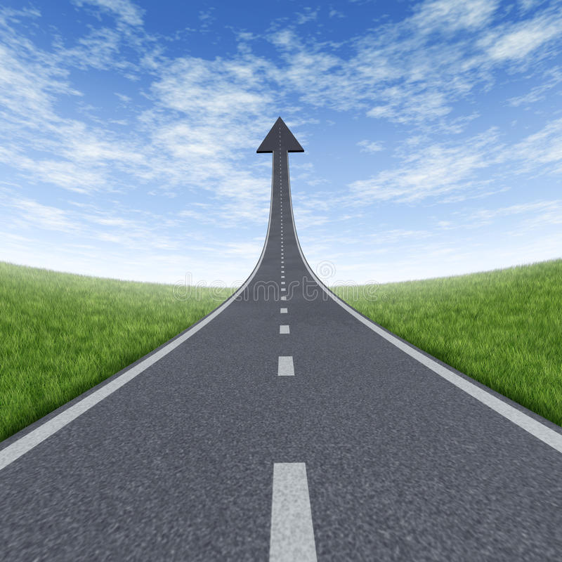 To The Top. Direct path and road to financial success rise  and moving high with a sky is the limit symbol and a highway road rising up to the blue sky with an royalty free illustration