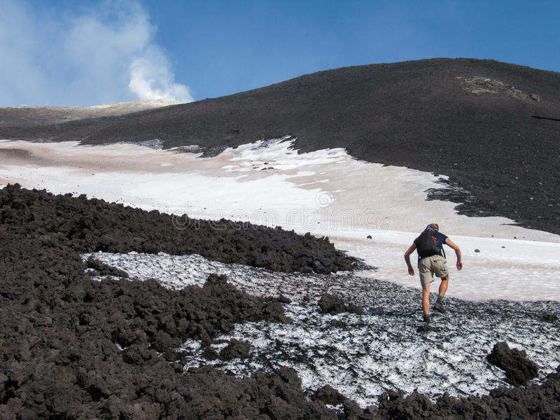 To the top of the Etna volcano. Hiker goes on the lava fields to the summit of Etna