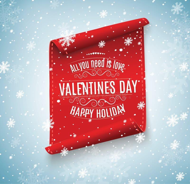 to walentynki dni czerwona ślimacznica sztandary ustawiający Przeciw tłu śnieg Dla reklamować i gratulacj royalty ilustracja