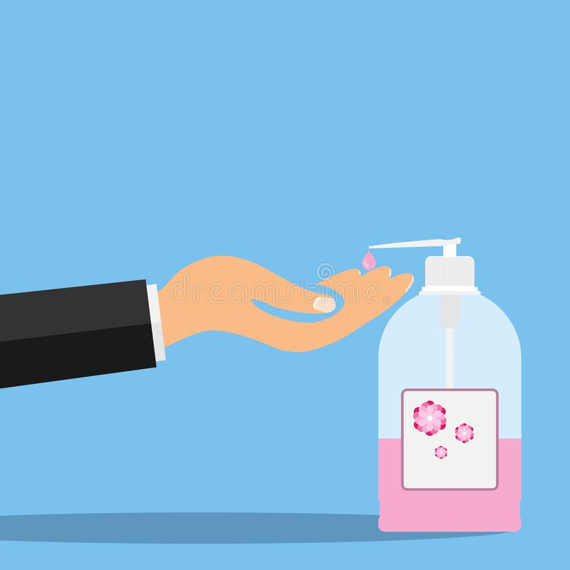 To wash hands with liquid soap, the hand squeezes out liquid soap. vector illustration