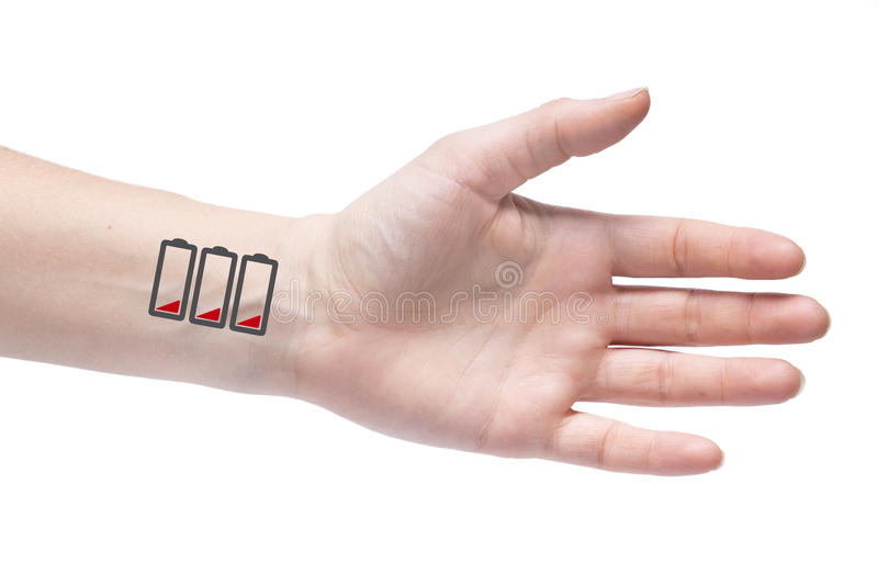 To wear yourself out. Human exhaustion lead to depression. Icons. Of empty battery on the wrist stock photo