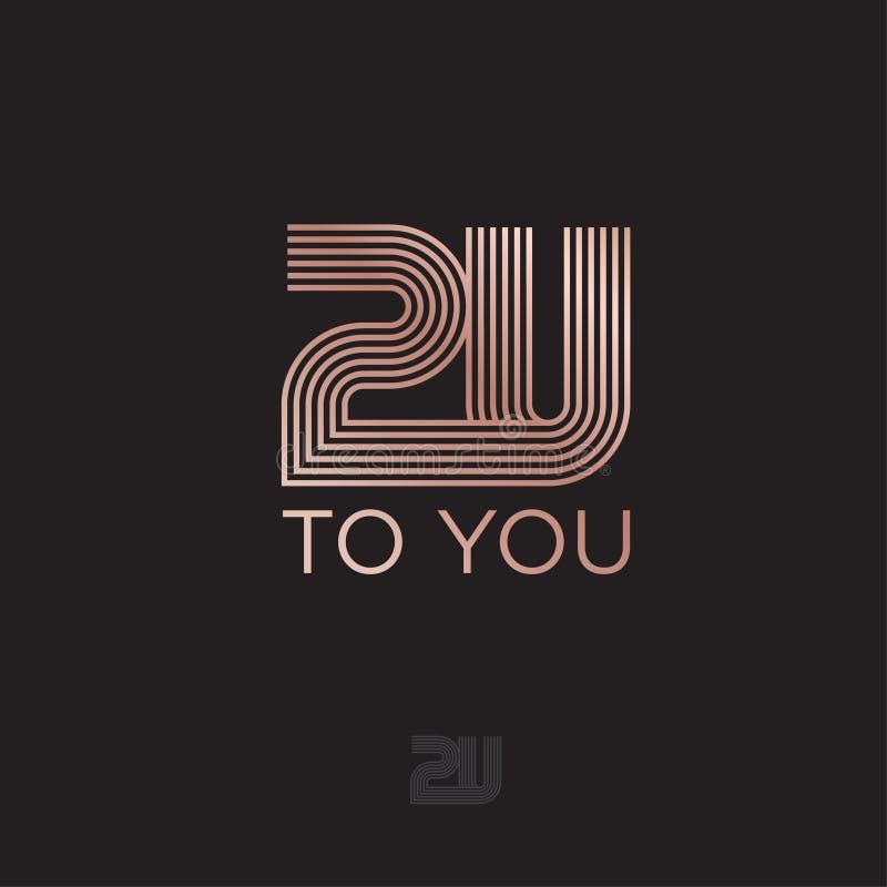 到您徽标 2U单字符 Abstract linear logo 字母由一些条 皇族释放例证