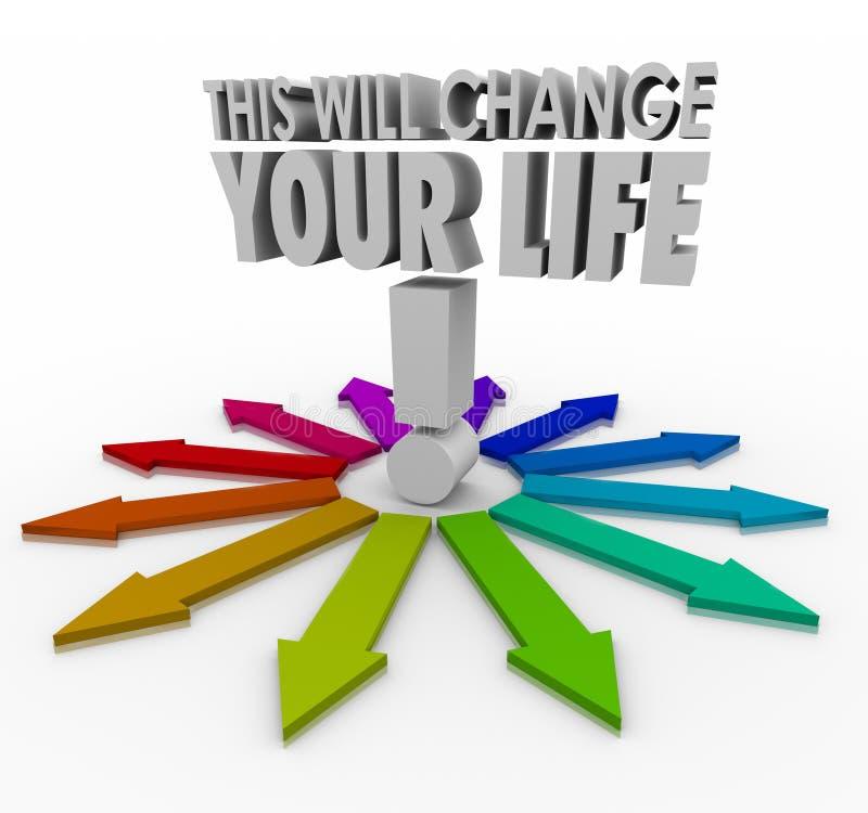 To Zmienia Twój życia 3d słów strzała Znacząco decyzję Ch royalty ilustracja