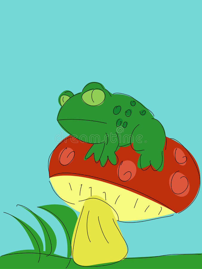 Toad on a Toadstool royalty free stock photography