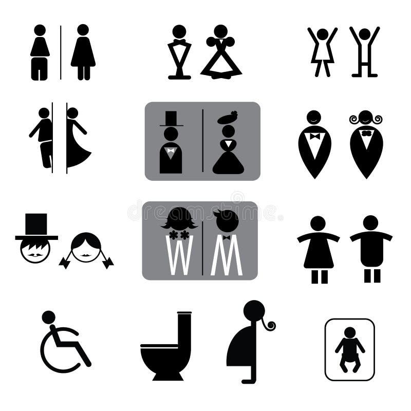 Toaleta podpisuje wektoru set royalty ilustracja
