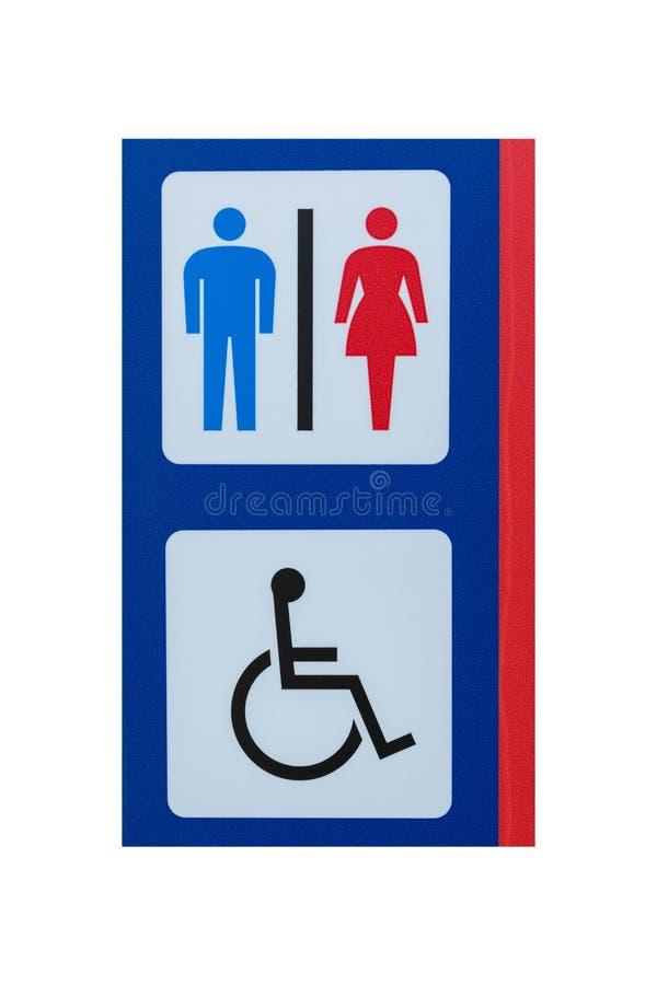 Toaleta znak dla mężczyzna kobiet odizolowywających na bielu kaleki i zdjęcia stock