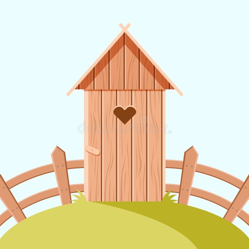 Toalete de madeira de Villiage ilustração royalty free