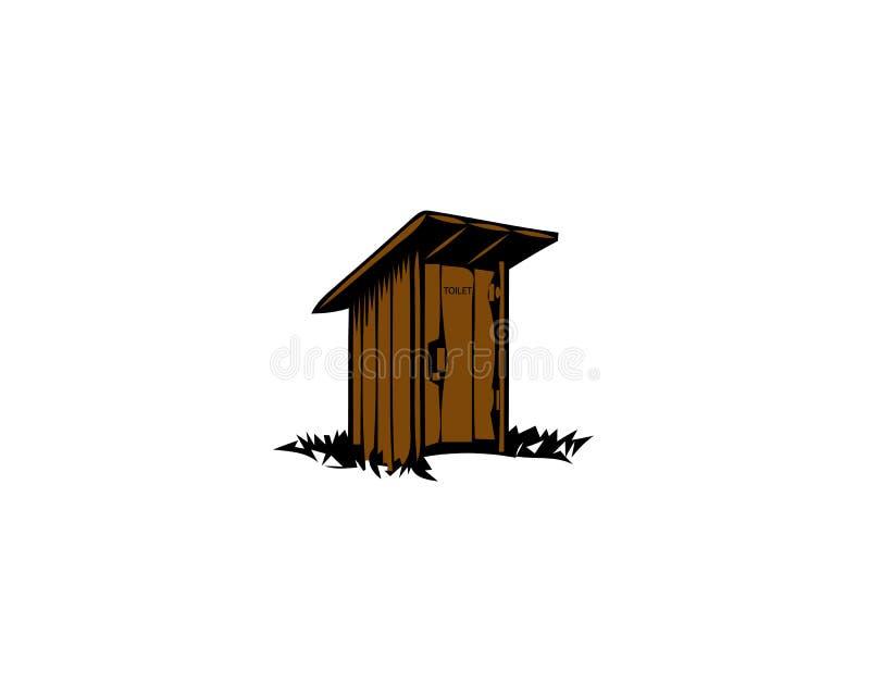 Toalete de madeira rústico Wc tradicional velho ilustração do vetor