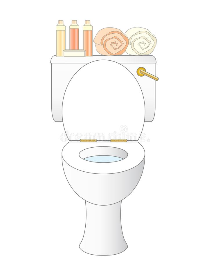 Toalete do banheiro com arti'culos de tocador e rolado acima das toalhas ilustração royalty free