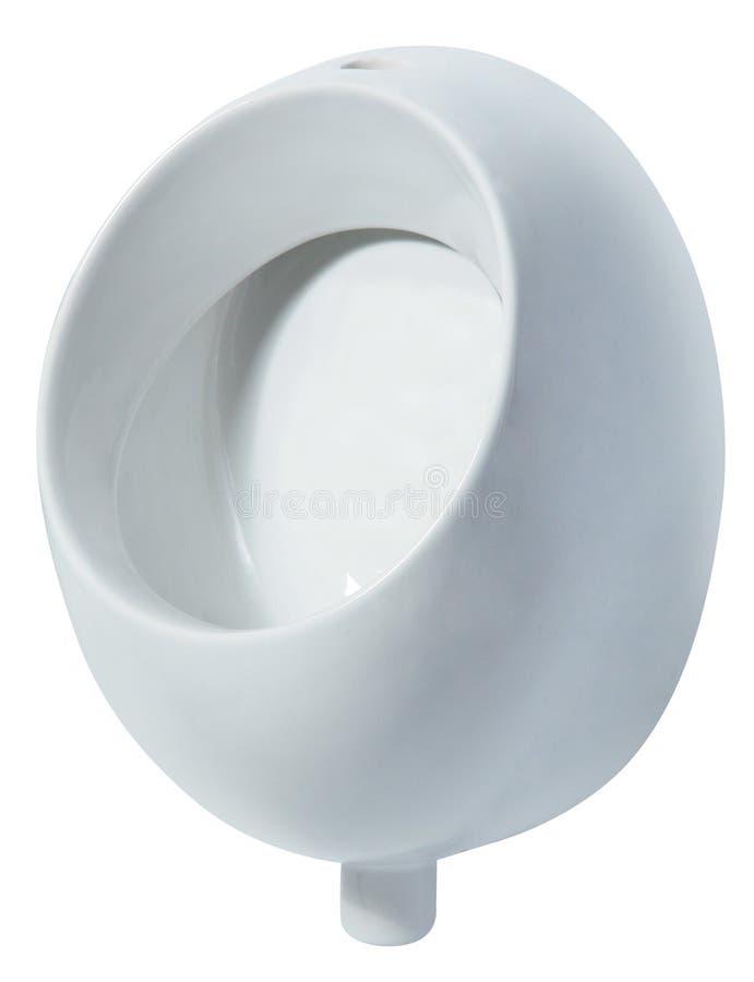 Toalete público dos homens cerâmicos do mictório Isolado no fundo branco foto de stock royalty free