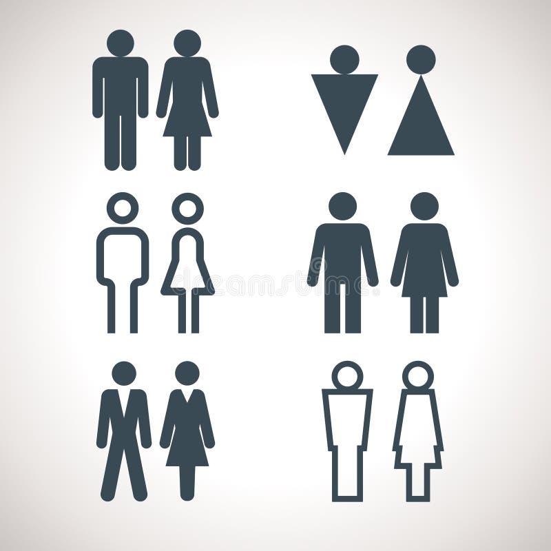 Toalete que indica sinais Sinal direcional do WC dos homens e das mulheres do vetor ilustração stock