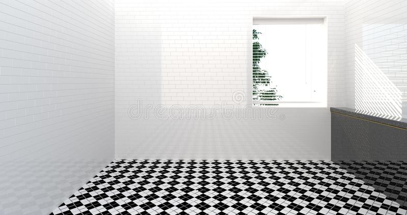 Toalete vazio, chuveiro, interior do banheiro, chuveiro, da casa branca da ilustração da parede 3d da sala fundo moderno do dissi ilustração do vetor