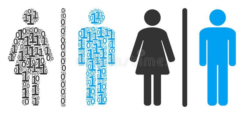 Toaletowa Persons mozaika Binarne cyfry royalty ilustracja