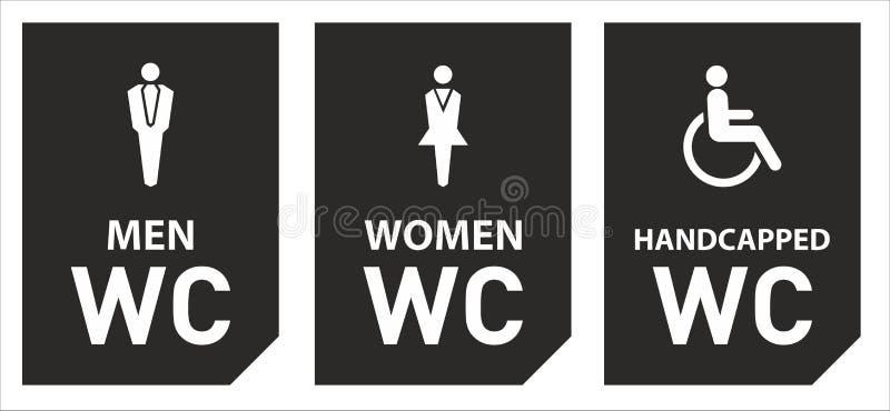 Toaletowe ikony ustawiaj? ch?opiec lub dziewczyny toalety wc ilustracji