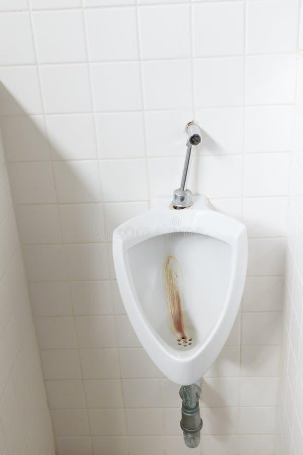 Toaletowego pisuaru jawny biel w łazience z kopii przestrzenią dodaje tekst zdjęcie stock