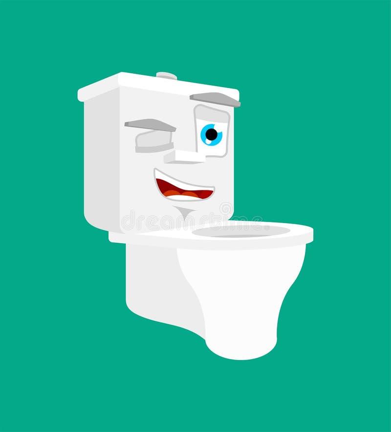 Toaletowego pucharu mrugnięcia klozetowy szczęśliwy emoji radosna Wektorowa ilustracja ilustracja wektor
