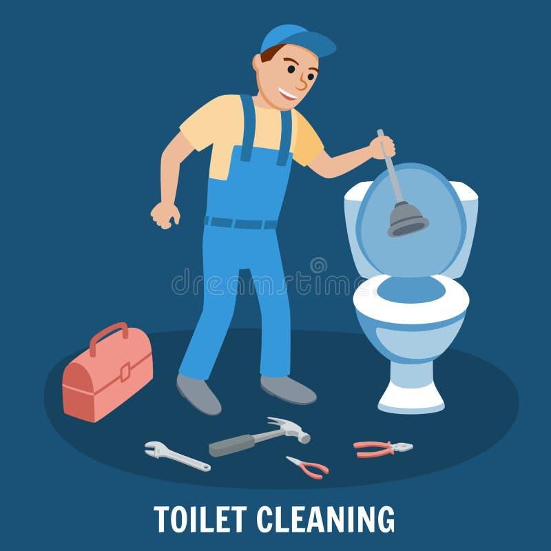 Toaletowy Cleaning, instalaci wodnokanalizacyjnej usługa wektor royalty ilustracja