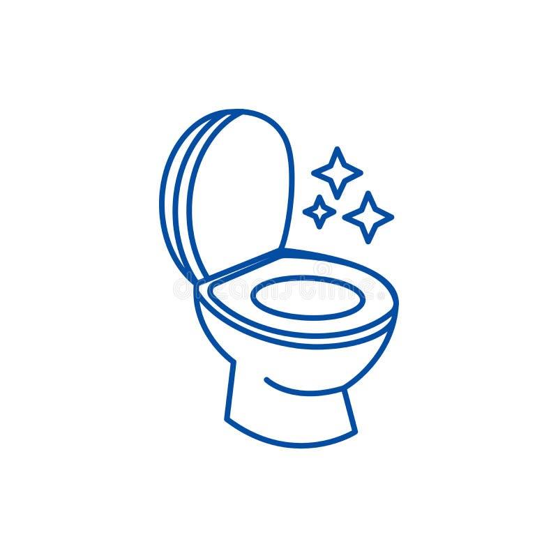 Toaletowy czyści, czyścić usługowej linii ikony pojęcie Toaletowy czysty, czyści usługowego mieszkania wektorowy symbol, znak, ko ilustracji