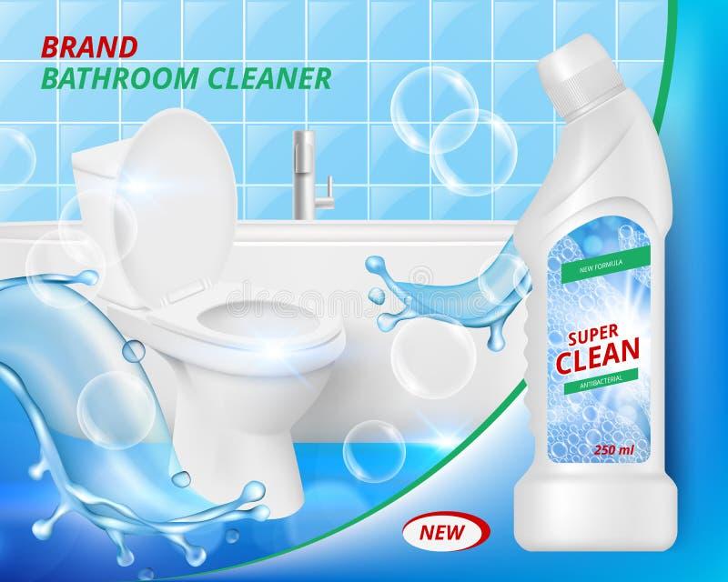 Toaletowy detergentowy czysty Łazienki mydlany ciekły płuczkowy czyści ceramicznego zlew plakata reklamowy realistyczny wektor ilustracja wektor