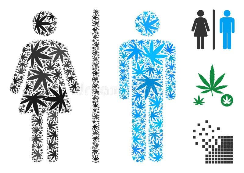 Toaletowy Persons kolaż marihuana ilustracja wektor