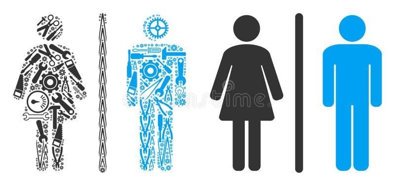 Toaletowy Persons kolaż Usługowi narzędzia ilustracja wektor