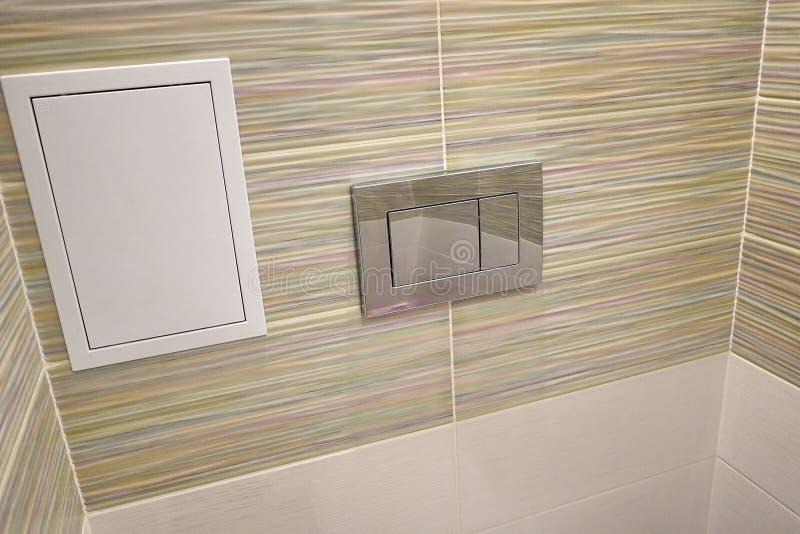 Toaletowy projekt z obmurowaną toaletą Obmurowana toaleta zrobi gdy instalacja wszystkie elementy oprócz toalety, chuje obraz stock