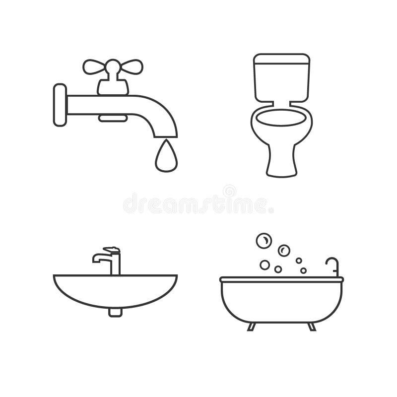 Toalett badrumlinje symbolsuppsättning Vektorillustration, l?genhetdesign vektor illustrationer