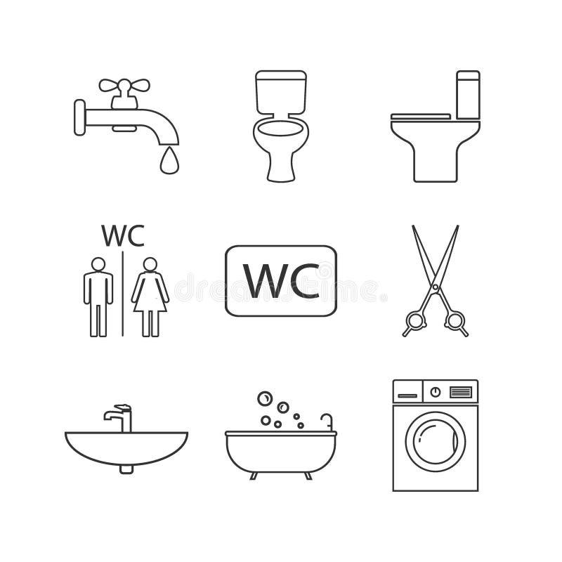 Toalett badrumlinje symbolsuppsättning Vektorillustration, l?genhetdesign stock illustrationer