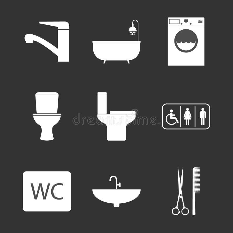 Toalett badrumsymbolsuppsättning Vektorillustration, l?genhetdesign royaltyfri illustrationer