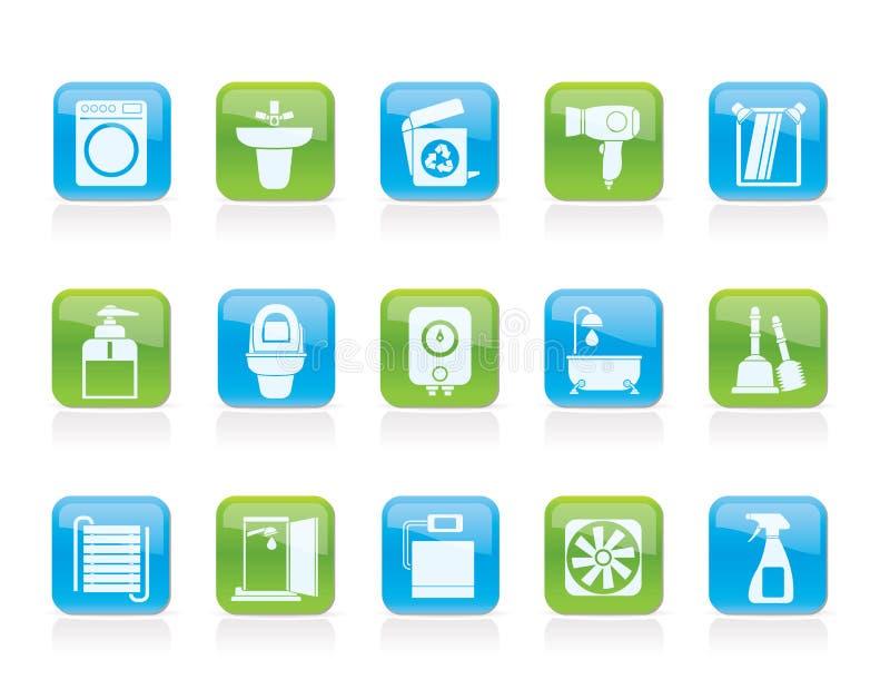 toalett för badrumsymbolsobjekt stock illustrationer