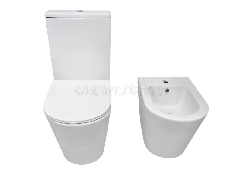 Toalett och bidé som isoleras på vit bakgrund royaltyfri fotografi