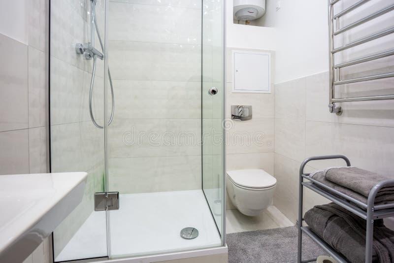 Toalett och detalj av en h?rnduschkabin med tillbeh?ret f?r v?ggmonteringsdusch arkivbild