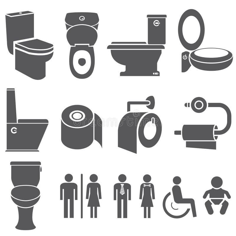 Toalett och wc-symboluppsättning vektor illustrationer