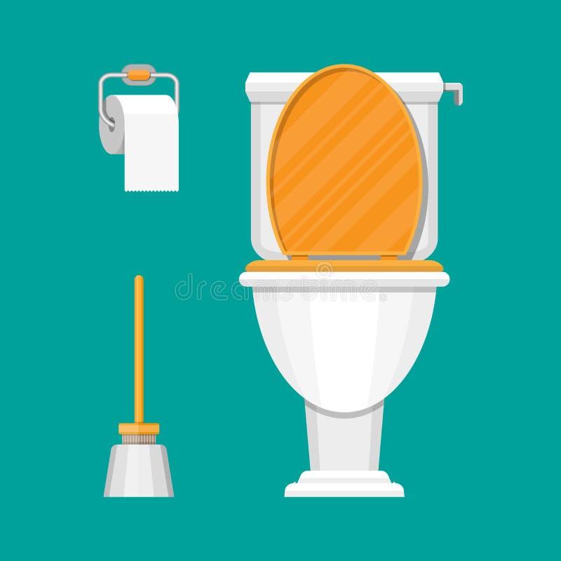 Toalett, papper och borste royaltyfri illustrationer