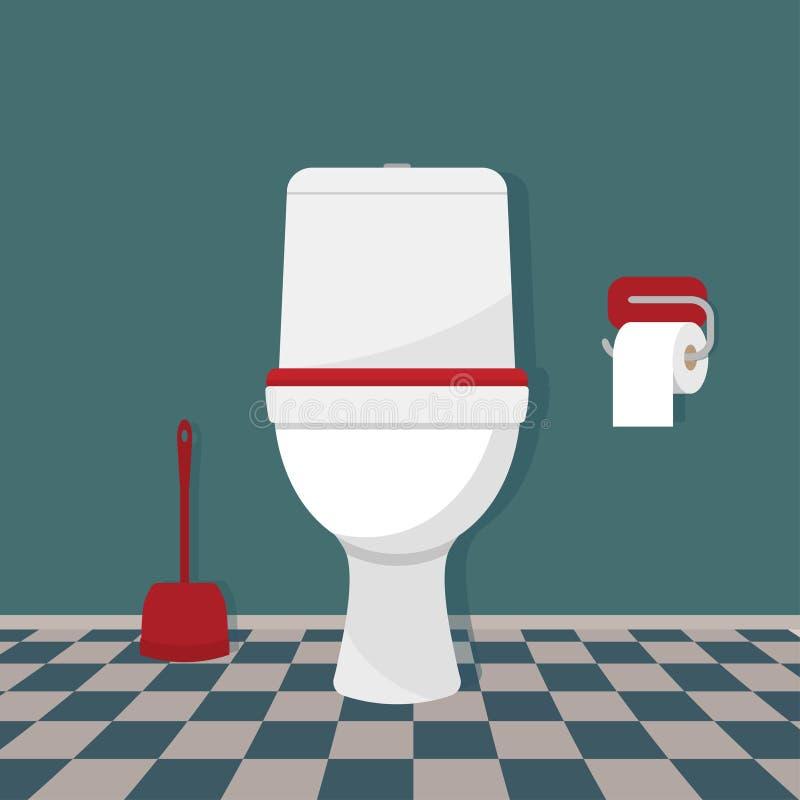 Toalett, toalettpapper och borste royaltyfri illustrationer
