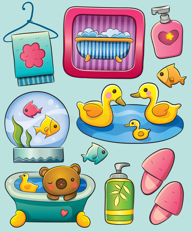 toalettartikel stock illustrationer