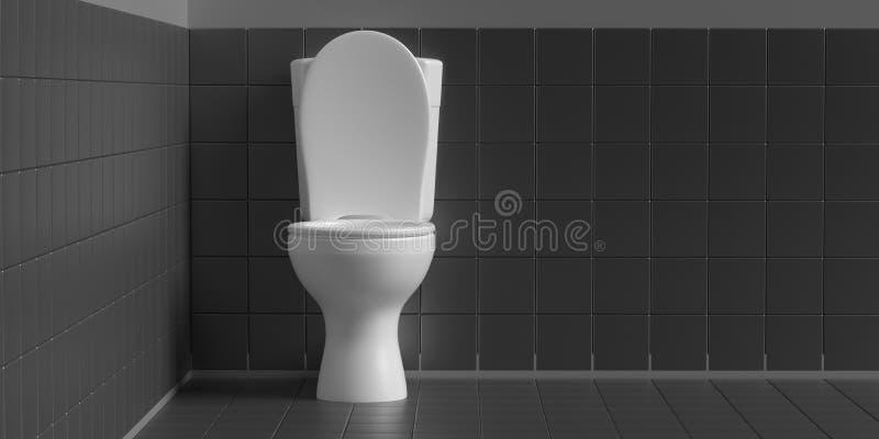 Toalettbunke på svart bakgrund, kopieringsutrymme illustration 3d vektor illustrationer