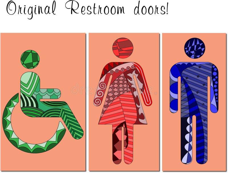 Toalettdörr royaltyfri illustrationer