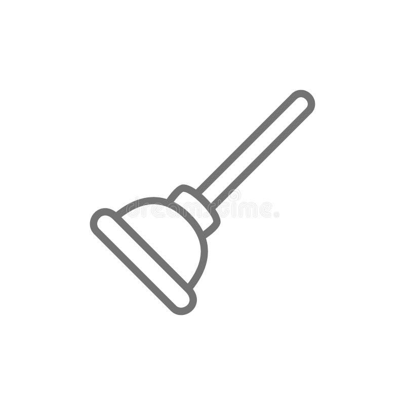 Toalettdykare, rengörande hjälpmedel, hushållsarbetetillförsellinje symbol royaltyfri illustrationer
