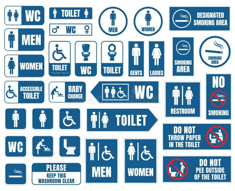 Toaletten undertecknar, toalettsymboler ställde in, wc-tecken royaltyfri illustrationer