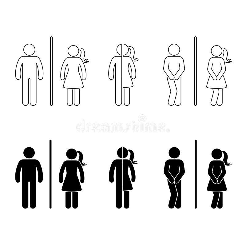 Toalettman och kvinnligsymbol royaltyfri illustrationer