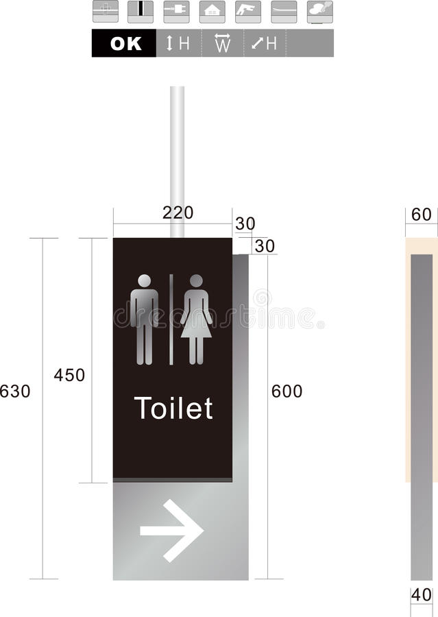Toalettman och kvinnligteckenillustration arkivfoton