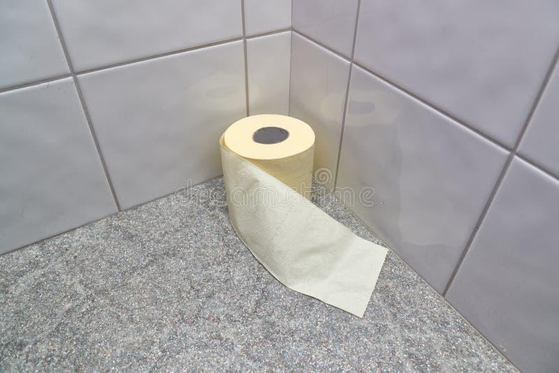 Toalettpapper i hörnet arkivbild